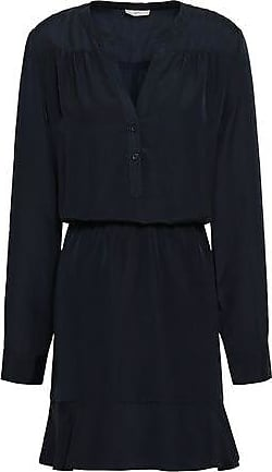 Joie Joie Woman Gathered Fluted Crepe De Chine Mini Dress Midnight Blue Size XS