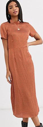 Vila polka dot high neck midi dress-Multi