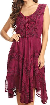 Sakkas 123 Sundara Stonewashed Rayon Embroidered Mid Length Dress - Orchid - 1X/2X