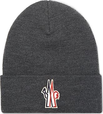 Moncler Logo-appliquéd Ribbed Virgin Wool Beanie - Gray d635a31989e