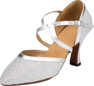 Insun Women Sparkly Dance Shoes Latin Ballroom Dancing Wedding Shoes Silver 8cm Heel 6.5 UK
