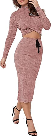 The Celebrity Fashion New Womens Twist Front Crop Top Lounge wear Co ords Set Fine Knitted Tracksuit Midi Skirt