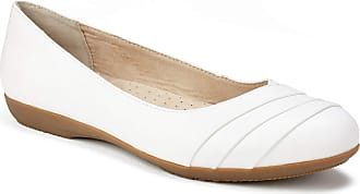 White Mountain Womens Clara Ballet Flat, White Burnished Smooth, 6.5 Wide