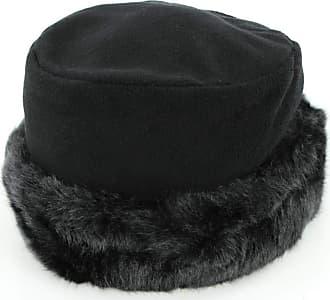 Hawkins Womens hat Faux Fur Trim Soft Fleece Black Brim Turn up hat (58cm)