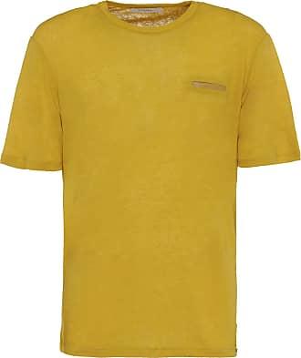 Gazzarrini T-Shirt in lino con tasca sul petto / Giallo