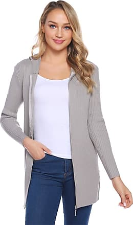 Abollria Womens Lightweight Long Sleeve Zipper up Chunky Knitted Cardigan Jumper Sweaters Coat with Hood