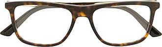 Gucci Armação de óculos retangular com efeito tartaruga - Marrom