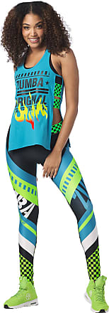 Zumba Athletic Open Side Fashion Tank Top Breathable Dance Women Workout Tops, Seaside Surf, L