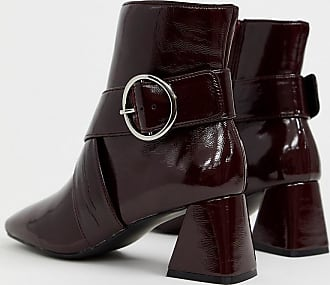 Miss Selfridge square toe ankle boots with buckles in burgundy-Red
