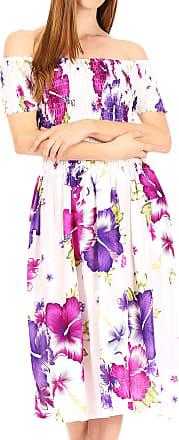 Sakkas TH2028 - Nur Womens Smock Elastic Cocktail Midi Sleeve Off Shoulder Floral Dress - W-Purple - OS