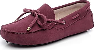 Jamron Womens Classic Suede Bow Tie Loafers Comfort Handmade Slipper Moccasins Burgundy 24208-2 UK2.5