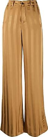 White Sand Calça pantalona listrada - Marrom