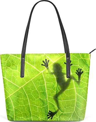 NaiiaN Leather Green Leaves Frog Light Weight Strap Purse Shopping for Women Girls Ladies Student Wildlife Handbags Shoulder Bags Tote Bag
