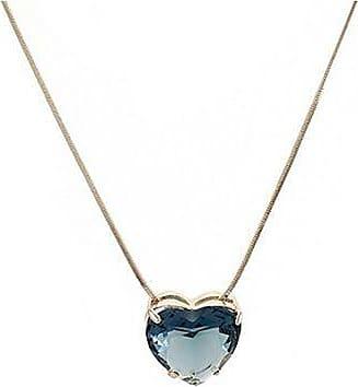 Renata Rancan Colar Semijoia Cristal Coração com Banho em Ouro 18K - Azul