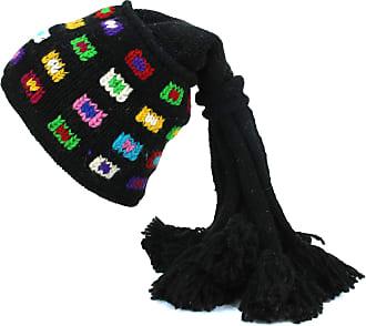 Loud Elephant Wool Knit Fountain Tassels Hat - SQ Black