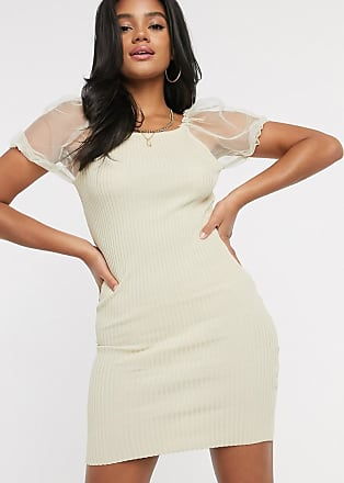 I Saw It First organza sleeve knitted dress in tan