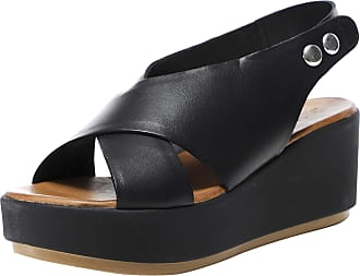 Inuovo Womens Leather Slingback Wedge Sandals 5 Black