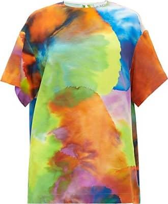 Raey Long-line Neon Tie-dye Print Silk Top - Womens - Multi