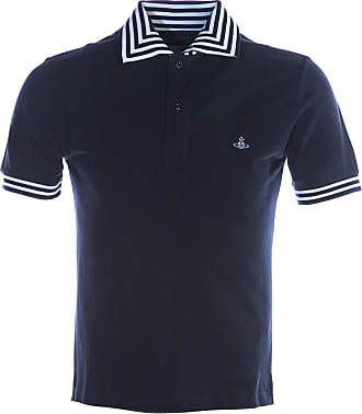 Vivienne Westwood Stripe Collar Polo Shirt in Navy