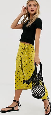 Miss Selfridge wrap skirt in polka dot-Green