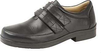 Roamers Roamer Mens Leather XXX Extra Wide Fit Touch Fastening Lightweight Casual Shoes (11, Black)