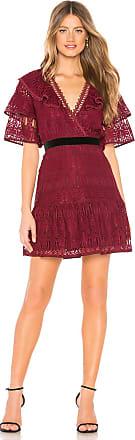 J.O.A. Ruffled Sleeves Lace Dress in Burgundy