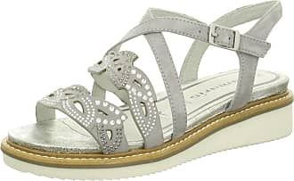 5f1022d4a9a Tamaris 1-28207-28 Womens Gray Leather Sandals