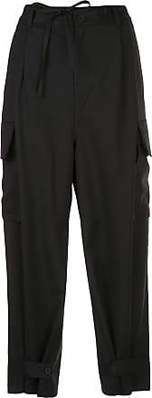 Yohji Yamamoto Calça de alfaiataria com pregas no cós - Preto