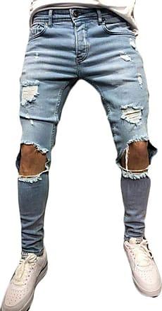 Inlefen Men Retro Destroyed Jeans Zipper Elastic Force Distressed Ripped Denim Trousers Light blueA1 3XL