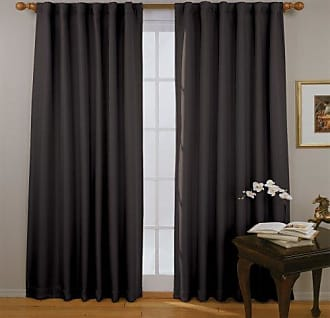 Eclipse Blackout Curtains for Bedroom - Fresno 52 x 84 Insulated Darkening Single Panel Rod Pocket Window Treatment Living Room, Black