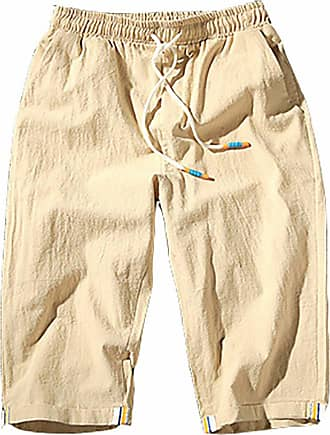 Vdual Mens Shorts Summer Comfortable Cropped Trousers Linen Lightweight Elasticated Waist Chino Straight Beach Pants Beige