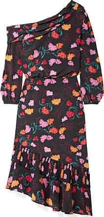 Saloni Lexie Off-the-shoulder Printed Silk-charmeuse Dress - Black