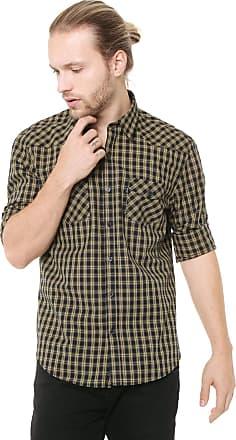 Ellus Camisa Ellus Reta Check 50 Western Preta/Amarela