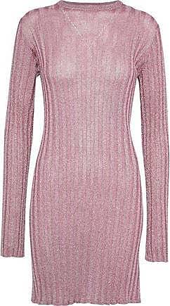 Ellery Ellery Woman Marina Metallic Ribbed-knit Mini Dress Pink Size M