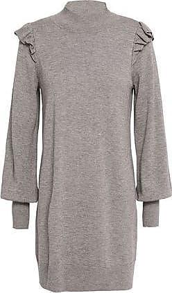 Joie Joie Woman Catriona Ruffle-trimmed Wool And Silk-blend Mini Dress Mushroom Size XXS