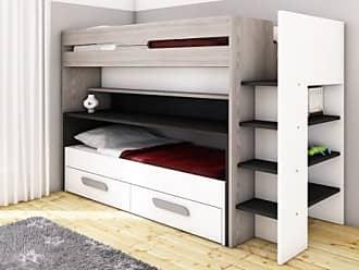 Vente-unique.ch Etagenbett mit Stauraum & ausziehbarem Schreibtisch DAVID - 90x190/90x200cm