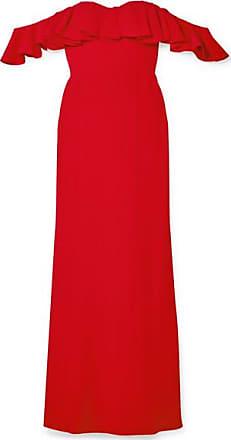Alexander McQueen Robe Du Soir Épaules Nues À Volants - Rouge fd9547a0ac5