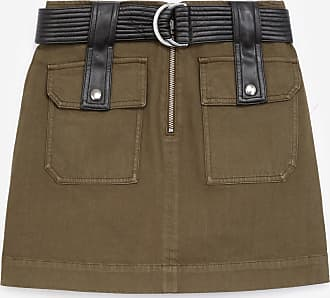 The Kooples Short khaki skirt with pockets & leather belt - WOMEN