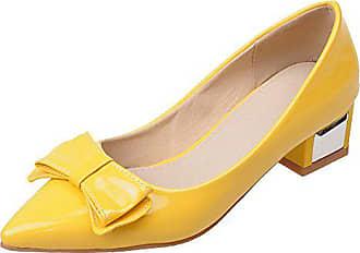 73080d4ff5ad87 RAZAMAZA Damen Mode Spitze Toe Blockabsatzabsatz Pumps Bogen Yellow Size 33  Asian