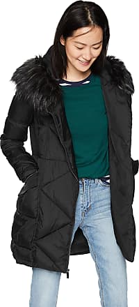 French Connection Womens 3/4 Asymmetrical Oversized Puffer Coat, Black, Medium