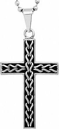 Zales Mens Textured Link Cross Pendant in Two-Tone Stainless Steel - 24