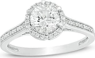 Zales 6.0mm Lab-Created White Sapphire and 1/10 CT. T.w. Diamond Frame Engagement Ring in 10K White Gold
