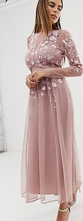 Asos long sleeve embroidered midi dress-Pink