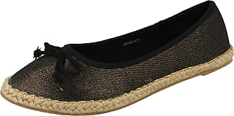 Spot On Ladies Pointed Toe Canvas Slip On Shoes F2233 Black 6 UK