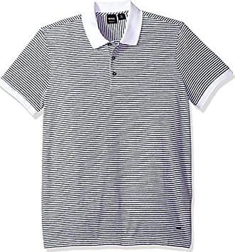 934798c8a HUGO BOSS BOSS Orange Mens Short Sleeve Mouline Stripe Cotton Blend Polo,  White, XL