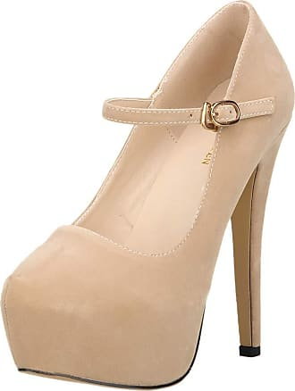 OCHENTA Womens Heels Round Toe Platform Ankle Strap Party Shoes Beige Tag 40-UK 6.5