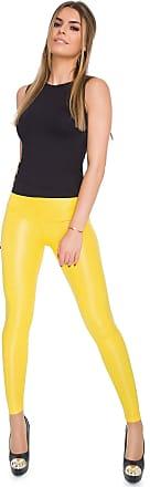 FUTURO FASHION Sexy Shiny Wet Look & Mat Full Length Leggings High Waist Latex Imitation Leather Yellow 18 UK (XXL)