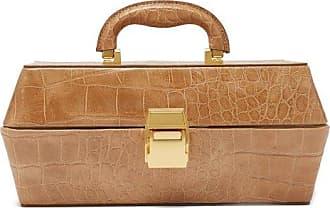 Staud Lincoln Crocodile-effect Leather Box Bag - Womens - Camel
