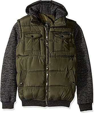 English Laundry Mens Quilted Bomber Jacket with Sweater Fleece Sleeves and Hood, Olive, M
