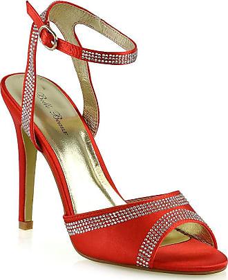 Ladies Ivory Satin Diamante Tbar strap Sandals Evening High Heel Shoes Size